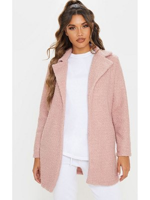 PrettyLittleThing dusty pink textured oversized coat