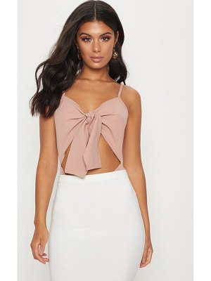 PrettyLittleThing dusty pink tie detail cut out bodysuit