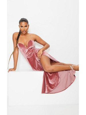 PrettyLittleThing dusty pink velvet draped wrap detail bandeau maxi dress