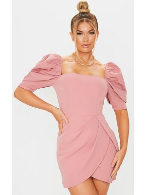 PrettyLittleThing dusty pink woven puff sleeve wrap bodycon dress