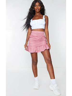 PrettyLittleThing dusty pink woven ruched frill hem mini skirt