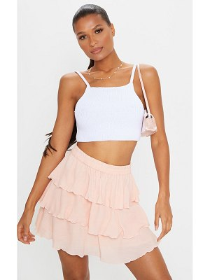 PrettyLittleThing dusty pink woven tiered ruffle skirt