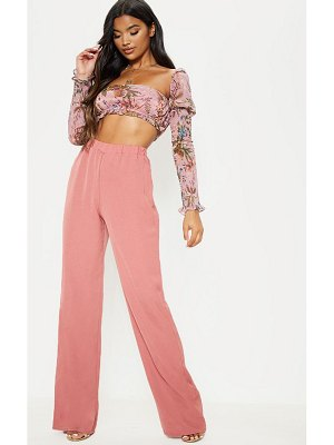 PrettyLittleThing dusty pink woven wide leg pant