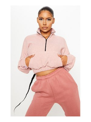 PrettyLittleThing dusty pink zip front oversized sweater