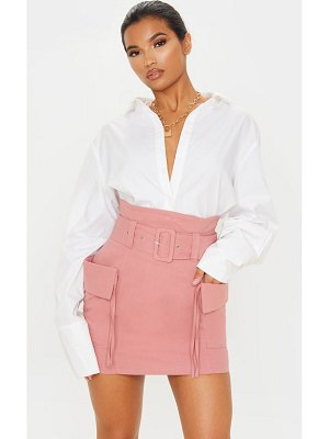 PrettyLittleThing dusty rose belted pocket detail cargo mini skirt