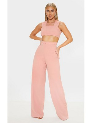 PrettyLittleThing dusty rose crepe cut out jumpsuit