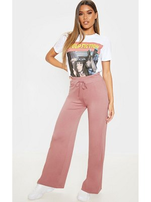 PrettyLittleThing dusty rose drawstring jersey wide leg jogger