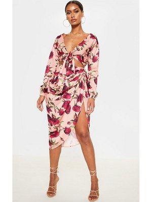 PrettyLittleThing dusty rose print  ruched side midi skirt