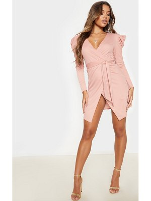 PrettyLittleThing dusty rose puff sleeve wrap bodycon dress
