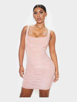 PrettyLittleThing dusty rose slinky ruched sleeveless bodycon dress