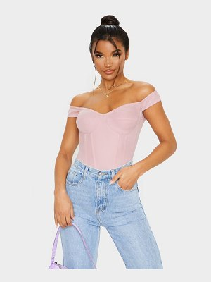 PrettyLittleThing dusty rose woven frill shoulder corset top