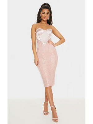 PrettyLittleThing dusty satin bustier lace midi dress