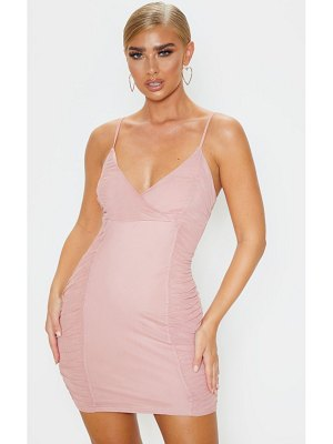 PrettyLittleThing dusty strappy mesh ruched side bodycon dress