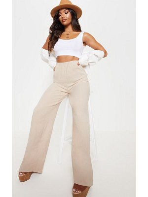 PrettyLittleThing elasticated waist cheesecloth wide leg trouser