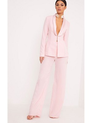 PrettyLittleThing elnie baby pink wide leg suit pants