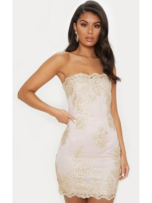 PrettyLittleThing embroidered bandeau bodycon dress
