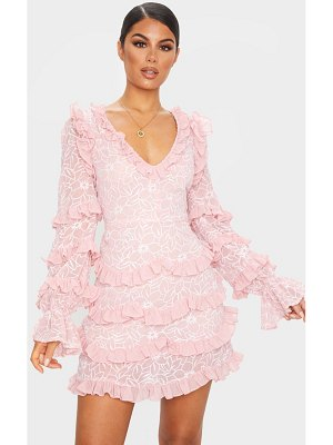 PrettyLittleThing embroidered chiffon frill shift dress