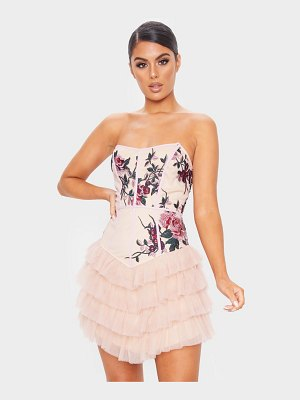 PrettyLittleThing embroidered detail bandeau tiered bodycon dress