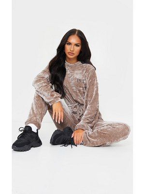 PrettyLittleThing embroidered rib velour crew neck jumpsuit
