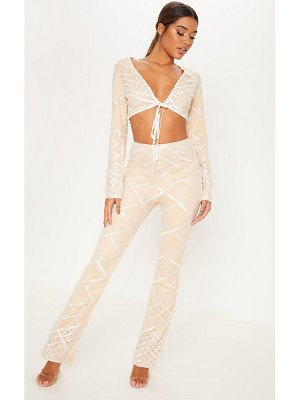 PrettyLittleThing embroidered sequin flared pants