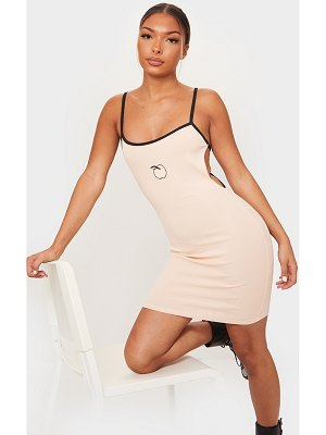 PrettyLittleThing embroidery contrast straps rib bodycon dress