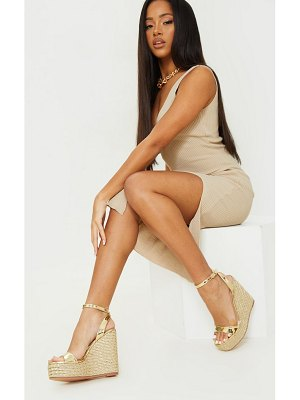 PrettyLittleThing extra high strappy raffia wedges