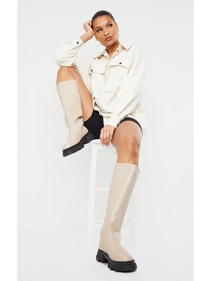 PrettyLittleThing extreme cleated sole calf high wellie boots