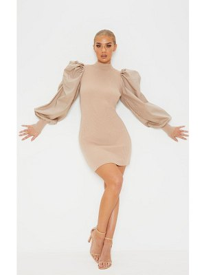 PrettyLittleThing extreme poplin sleeve knitted dress