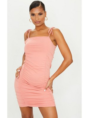 PrettyLittleThing extreme ruched strappy bodycon dress