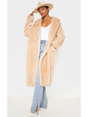 PrettyLittleThing large lapel midaxi faux fur coat