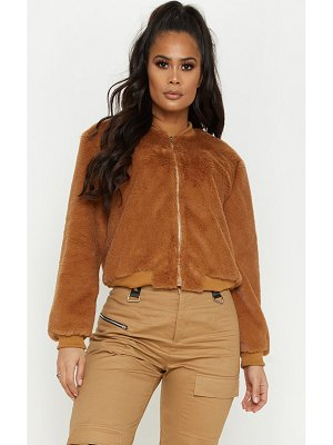 PrettyLittleThing faux fur cropped bomber