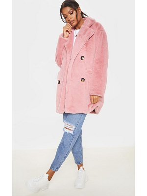 PrettyLittleThing faux fur double breasted button detail coat