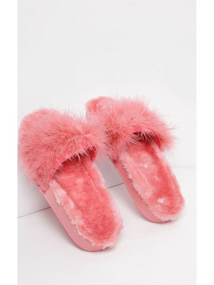 PrettyLittleThing faux fur lined feather sliders