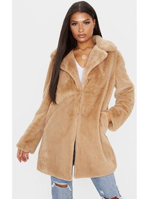 PrettyLittleThing faux fur midi collar coat