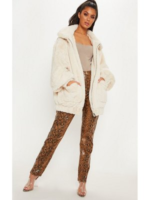 PrettyLittleThing faux fur pocket front coat