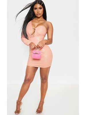 PrettyLittleThing faux leather asymmetric bodycon dress