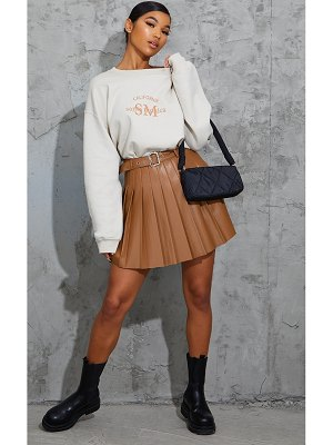 PrettyLittleThing faux leather belted skater skirt