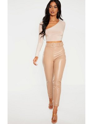 PrettyLittleThing faux leather belted skinny pants