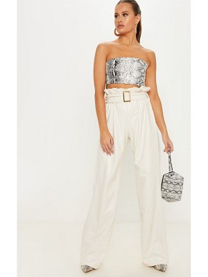 PrettyLittleThing faux leather belted waist wide leg pants