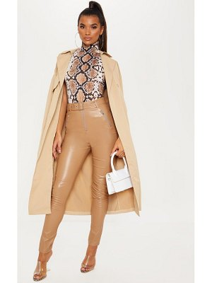 PrettyLittleThing faux leather belted zip detail skinny pants