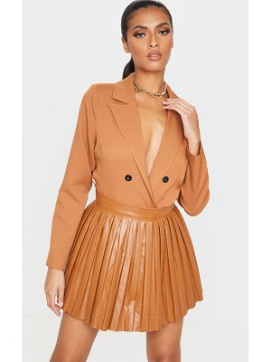 PrettyLittleThing faux leather pleated skater skirt