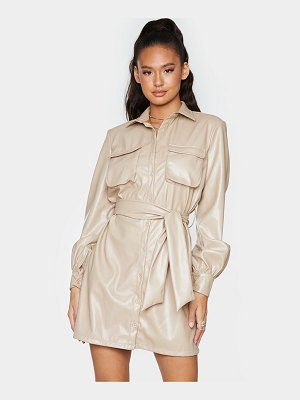 PrettyLittleThing faux leather pocket detail shirt dress