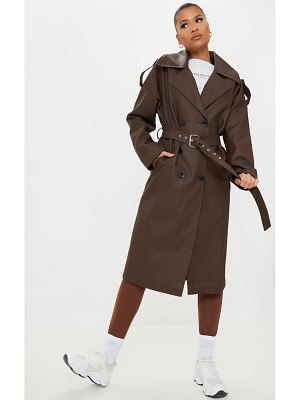 PrettyLittleThing faux leather pocket trench