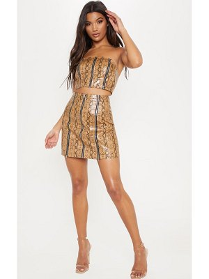 PrettyLittleThing faux leather snake print zip detail mini skirt