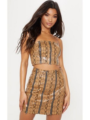 PrettyLittleThing faux leather snake print zip up bandeau crop top