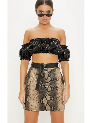 PrettyLittleThing faux leather snakeskin belted mini skirt