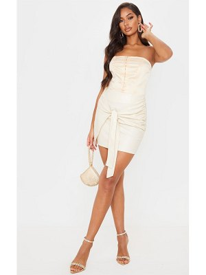 PrettyLittleThing faux leather tie front mini skirt