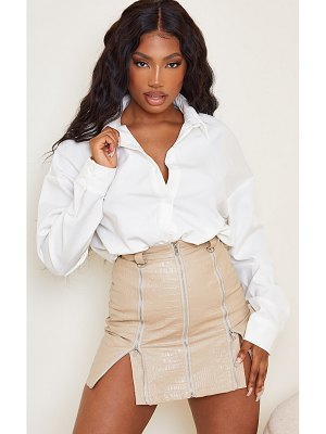 PrettyLittleThing faux leather zip detail croc mini skirt