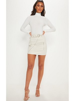 PrettyLittleThing faux suede belted biker mini skirt