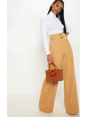 PrettyLittleThing faux suede belted wide leg pants